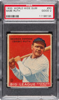 Baseball Cards:Singles (1930-1939), 1933 World Wide Gum Babe Ruth #93 PSA Good 2....