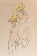 Fine Art - Work on Paper:Drawing, DIEGO RIVERA (Mexican, 1886-1957). Two Men and Horse. Penciland watercolor on paper. 18 x 12 inches (45.7 x 30.5 cm) . ...