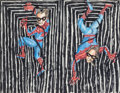 Post-War & Contemporary:Contemporary, RED GROOMS (American, b. 1937). Spiderman on Stripe Paintings(Frank Stella), 1986. Marker and colored pencil on graph p...