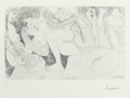 Prints:European Modern, PABLO PICASSO (Spanish, 1881-1973). Autour du bain turc d'Ingres(from 347 Series), 1968. Etching. 7-3/4 x 12-3/4 inches...