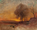 Works on Paper, AUGUSTE FRANÇOIS RAVIER (French, 1814-1895). Landscape at Dusk. Watercolor on paper. 8 x 10 inches (20.3 x 25.4 cm) (sig...
