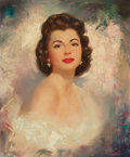 Pin-up and Glamour Art, EDWARD RUNCI (American, 1921-1986). Portrait of ShirleyPhillips. Oil on canvas. 24 x 20 in.. Signed lower right. ...
