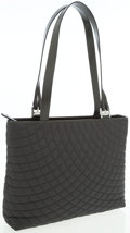Luxury Accessories:Bags, Bally Charcoal Gray Leather and Quilted Fabric Bag with SilverHardware. ...