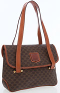 Luxury Accessories:Bags, Celine Brown Monogram Canvas Flap Bag with Gold Hardware. ...