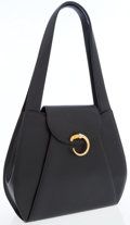 Luxury Accessories:Bags, Cartier Black Leather Classic Gold Panthere Shoulder Bag. ...