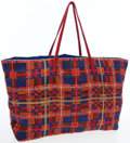 Luxury Accessories:Bags, Fendi Full Bead Red & Blue Crystal Tote Bag with Satin Interior& Ponyhair Shoulder Straps. ...