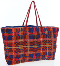 Fendi Full Bead Red & Blue Crystal Tote Bag with Satin Interior & Ponyhair Shoulder Straps