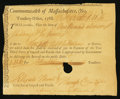 Colonial Notes:Massachusetts, Massachusetts Treasury Collector of Impost and Excise Tax'sCertificate £1 11 Shillings 6 Pence 1788 Anderson MA-44 VeryFine...