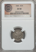 Three Cent Nickels, 1865 3CN XF40 NGC. This lot will also include a: 1888 3CN XF40 NGC. CAC. . Each are apart of The Eric P. Newman C... (Total: 2 coins)