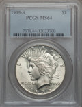 Peace Dollars: , 1935-S $1 MS64 PCGS. PCGS Population (1406/776). NGC Census:(884/482). Mintage: 1,964,000. Numismedia Wsl. Price for probl...