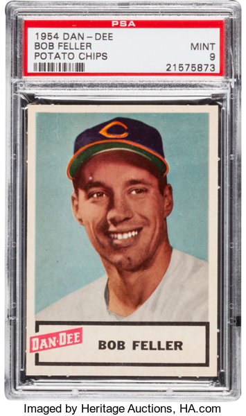 1954 Dan Dee Potato Chips Bob Feller Psa Mint 9 Baseball