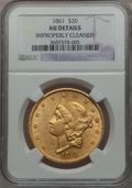 Liberty Double Eagles: , 1861 $20 -- Improperly Cleaned -- NGC Details. AU. NGC Census:(244/1942). PCGS Population (206/886). Mintage: 2,976,453. N...
