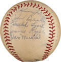 Autographs:Baseballs, 1945-46 US Navy Team Signed Baseball from The Stan MusialCollection....