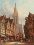Fine Art - Painting, European:Antique  (Pre 1900), HENRY THOMAS SCHAFER (British, 1854-1915). Market Day inHonfleur, Normandy and Regensburg Cathedral of St. Peter,Ger... (Total: 2 Items)