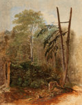 Paintings, CARL SPITZWEG (German, 1808-1885). Study of a Woodland Landscape. Oil on artists' board. 12-1/2 x 10 inches (31.8 x 25.4... (Total: 3 Items)
