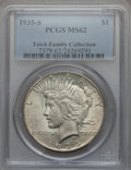 Peace Dollars: , 1935-S $1 MS62 PCGS. PCGS Population (552/3267). NGC Census:(391/1991). Mintage: 1,964,000. Numismedia Wsl. Price for prob...