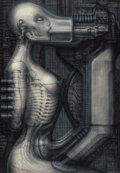 Pulp, Pulp-like, Digests, and Paperback Art, H.R. GIGER (Swiss, b. 1940). Biomechanoid II, 1975-83.Acrylic on paper laid on board. 39.25 x 27.5 in.. Signed verso. ...