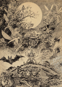 REGINALD BATHURST BIRCH (British, 1856-1943) Fairies and Elves in the Moonlight Pen and ink on paper