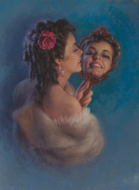 ZOE MOZERT (American, 1904-1993) Her Reflection Pastel on board 37 x 28 in. Signed center righ