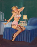 Pin-up and Glamour Art, GIL ELVGREN (American, 1914-1980). Sleepy Time Gal #2, Brown& Bigelow calendar illustration. Oil on canvas. 29 x 23in....