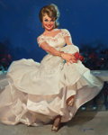 Pin-up and Glamour Art, GIL ELVGREN (American, 1914-1980). Moonlight and Roses (MissSinclair 1965), Brown & Bigelow calendar illustration,1963...