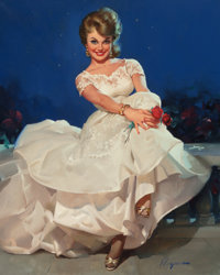 GIL ELVGREN (American, 1914-1980) Moonlight and Roses (Miss Sinclair 1965), Brown & Bigelow calendar illustrati