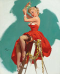 Pin-up and Glamour Art, GIL ELVGREN (American, 1914-1980). A Put-Up Job, Brown &Bigelow calendar illustration, 1955. Oil on canvas. 30 x 24in....