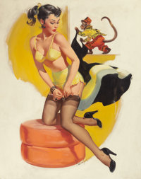 JOYCE BALLANTYNE (American, 1918-2006) Pin-Up with Monkey Oil on canvas 30 x 24 in. Signed low