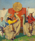 Mainstream Illustration, FREDERICK SANDS BRUNNER (American, 1886-1954). Wild West Show& Rodeo. Oil on canvas. 28 x 24 in.. Signed lower right....
