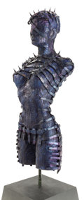Pulp, Pulp-like, Digests, and Paperback Art, H.R. GIGER (Swiss, b. 1940). Female Torso, 1995. Paintedaluminum and cast bronze. 41 in. high. Signed and dated on lowe...