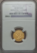 Classic Quarter Eagles: , 1834 $2 1/2 Classic -- Improperly Cleaned -- NGC Details. AU. NGCCensus: (42/763). PCGS Population (76/429). Mintage: 112,...