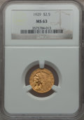 Indian Quarter Eagles: , 1929 $2 1/2 MS63 NGC. NGC Census: (5680/2978). PCGS Population(3727/1744). Mintage: 532,000. Numismedia Wsl. Price for pro...