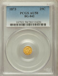 California Fractional Gold: , 1873 25C Liberty Round 25 Cents, BG-842, R.6, AU58 PCGS. PCGSPopulation (2/12). NGC Census: (0/1). ...