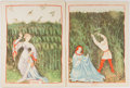 Books:Prints & Leaves, [Prints] Eight Color Reproductions of Medieval Prints on Four Leaves. [N.p., n.d., ca. 1960's]. 14 x 10.5 inches. With two l...