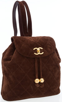 Chanel Brown Quilted Suede Backpack with Gold Hardware