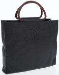 Luxury Accessories:Bags, Chanel Black Caviar Leather Tote Bag with CC Logo and Brown TopHandles. ...