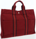 Luxury Accessories:Bags, Hermes Rouge H & Plum Canvas Fourre Tout MM Tote Bag. ...