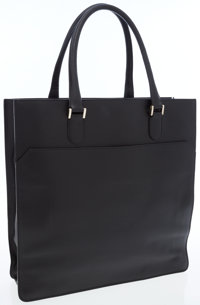 Valextra Black Leather Tote Bag
