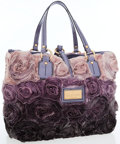 Luxury Accessories:Bags, Valentino Lavender Silk Rosier Tote with Lavender Patent LeatherAccents. ...