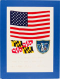 Explorers:Space Exploration, Apollo 10 Crew-Signed Presentation with Flown Large American Flag, Flown Maryland State Flag, and Flown Embroidered Mi...