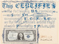 Explorers:Space Exploration, Mercury-Atlas 6 (Friendship 7) Flown One Dollar Bill, Signedby John Glenn, with Signed Certificate of Authenticit...