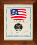 Explorers:Space Exploration, Apollo 11 Flown American Flag on a Crew-Signed Presentation Certificate, Framed. ...