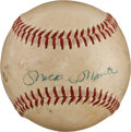 Baseball Collectibles:Balls, 1950's Mickey Mantle & Casey Stengel Multi-Signed Baseball. ...
