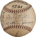 Autographs:Baseballs, 1926 Babe Ruth, Walter Johnson, Ty Cobb & More SignedBaseball....