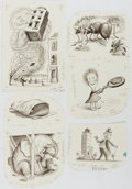 Books:Prints & Leaves, Garth Williams. SIGNED. Lot of 4 Original Pen and Ink Drawings for The Tall Book of Make Believe [N.p., n.d.] These...