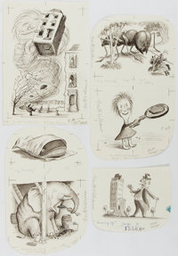 Garth Williams. SIGNED. Lot of 4 Original Pen and Ink Drawings for The Tall Book of Make Believe </