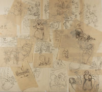 Garth Williams. SIGNED. Lot of 25 Original Pencil Preliminary Sketches for The Tall Book of Make Believe </