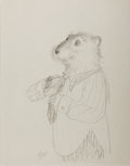 Books:Prints & Leaves, Garth Williams. SIGNED. Original Pencil Preliminary Sketch forThree Little Animals. [N.p., n.d.] Approximately 11 ...