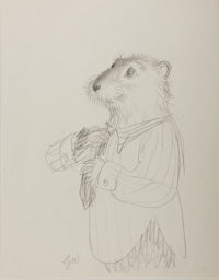 Garth Williams. SIGNED. Original Pencil Preliminary Sketch for Three Little Animals. [N.p., n.d