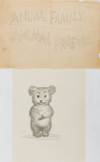 Garth Williams. SIGNED. Two Original Pencil Preliminary Sketches for Three Little Animals. [N.p